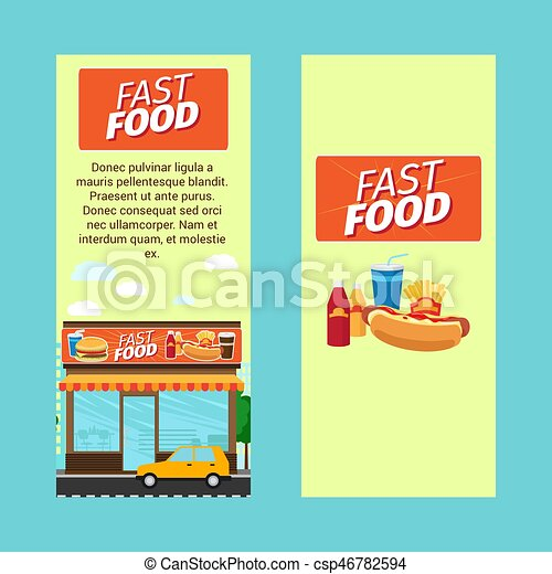 fast food vertical flyers with shop building and landscape vector