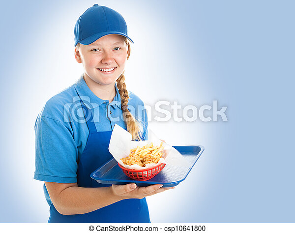Fast Food Worker on Blue - csp10641800