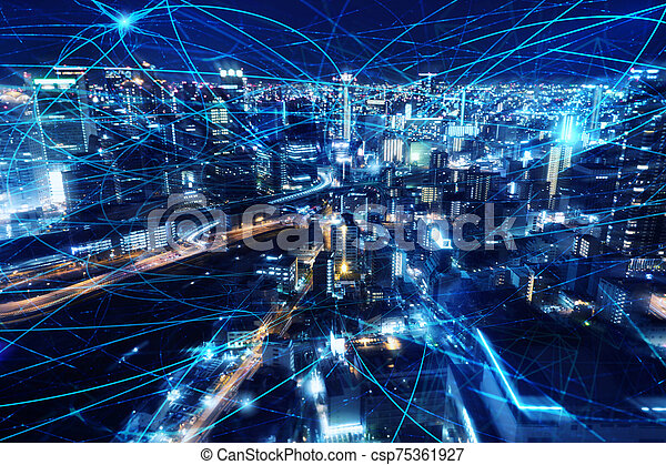 Fast internet connection in the city at night. Concept of technology and innovation - csp75361927
