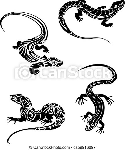 Fast lizards in tribal style - csp9916897