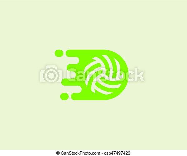 Fast moving ball logotype. Sport vector logo design. - csp47497423