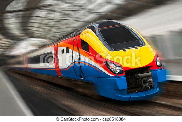Fast Passenger Speed Train with Motion Blur - csp6518084