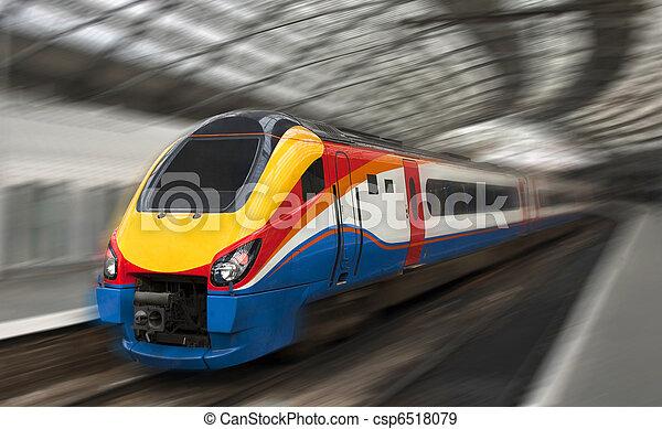Fast Passenger Train with Motion Blur - csp6518079
