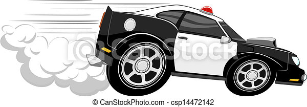 Fast police car cartoon isolated on white background.