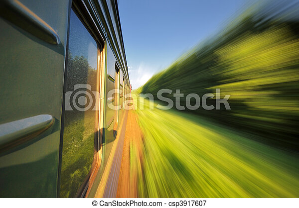 Fast riding a train with motion blur - csp3917607