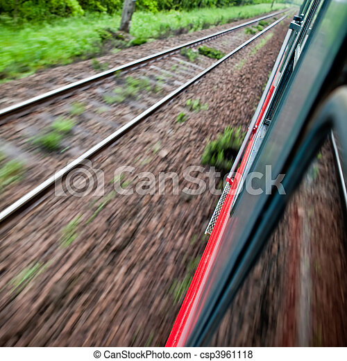 Fast riding a train with motion blur - csp3961118