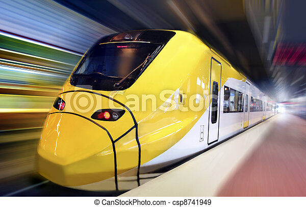 Fast train in motion - csp8741949