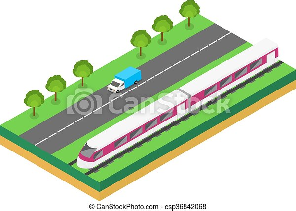 Fast Train near highway.  - csp36842068
