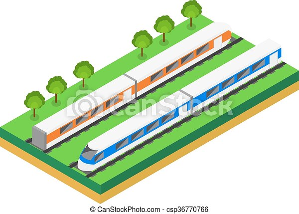 Fast Train. Vector isometric illustration of a Fast Train.  - csp36770766