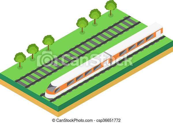 Fast Train. Vector isometric illustration of a Fast Train.  - csp36651772
