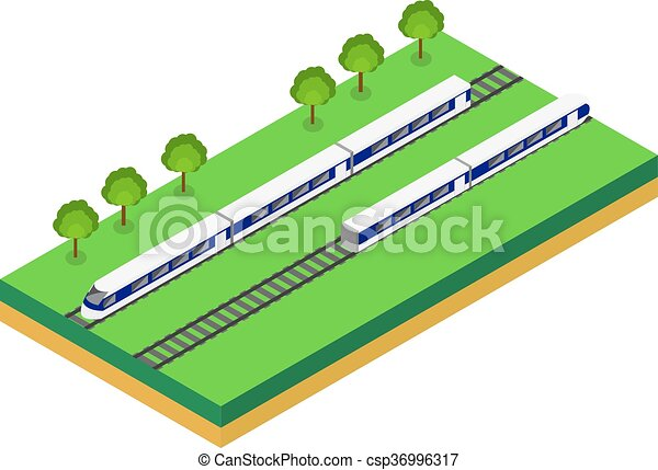 Fast Train. Vector isometric illustration of a Fast Train.  - csp36996317