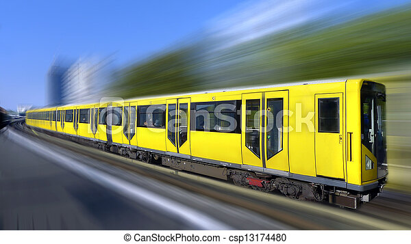 Fast train with motion blur - csp13174480