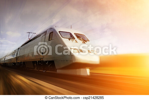 Fast train with motion blur - csp21428285