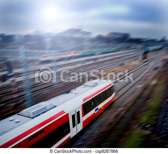 Fast train with motion blur - csp8287866