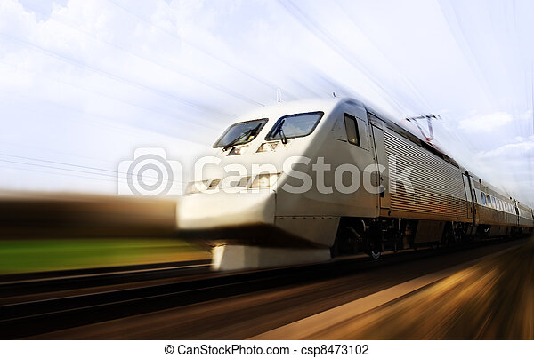 Fast train with motion blur - csp8473102