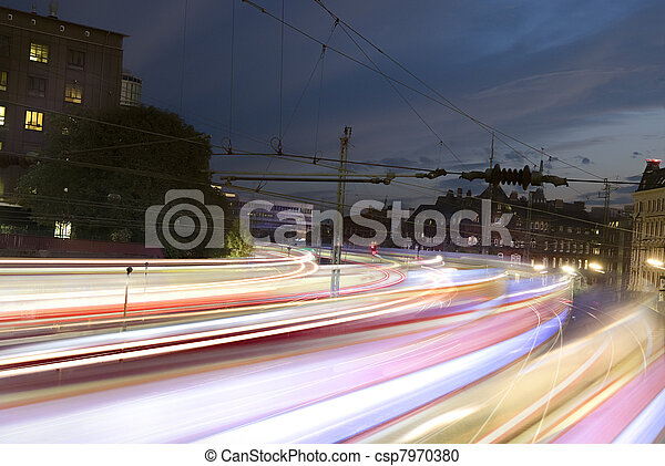 Fast trains with motion blur - csp7970380
