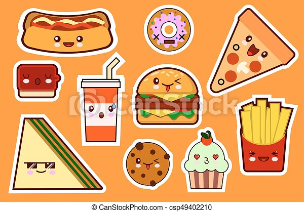 Fastfood Fashion Cartoon Kawaii Stickers Illustrations Icon Set Gamburger Pizza Sandwich Cake Flat Design