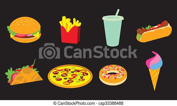 fastfood, set, pictogram - csp33388488