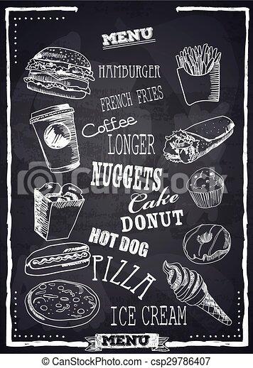 fastfood, vector, menu. - csp29786407