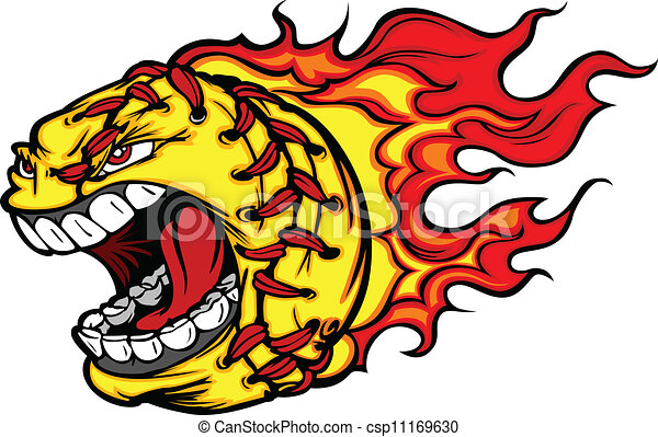 Fastpitch Softball Ball Screaming Face with Flames Vector Image - csp11169630