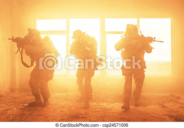 fastslår, rangers, foren, handling, hær - csp24571006