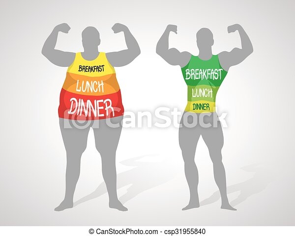 fat and slim body healthly lifestyle concept