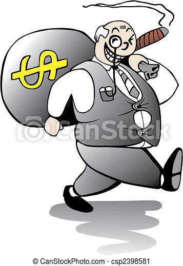 Fat Banker Walking Away With Huge Bonus - csp2398581