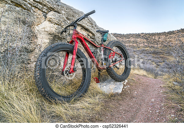 fat bike on a trail in northern Colorado - csp52326441