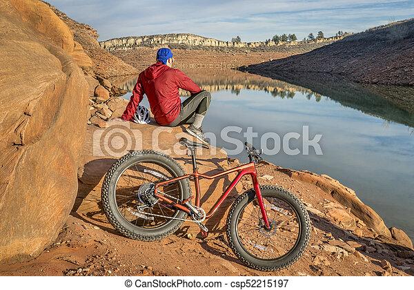 fat biking in Colorado foothills - csp52215197