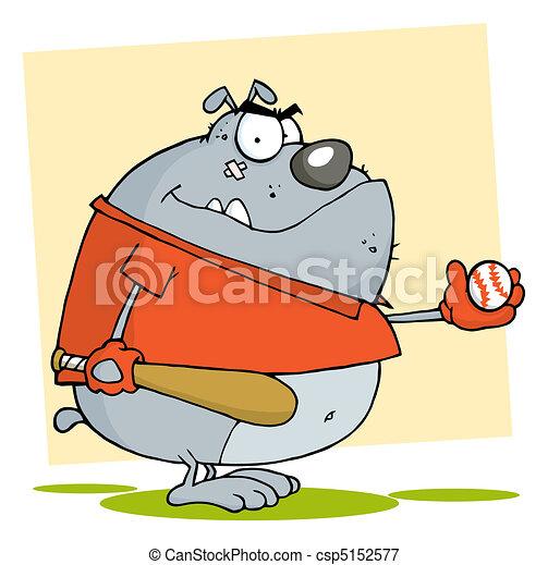 Fat Bulldog Playing Baseball - csp5152577