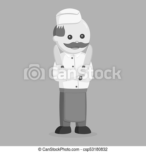Fat butcher man posing with two knife - csp53180832