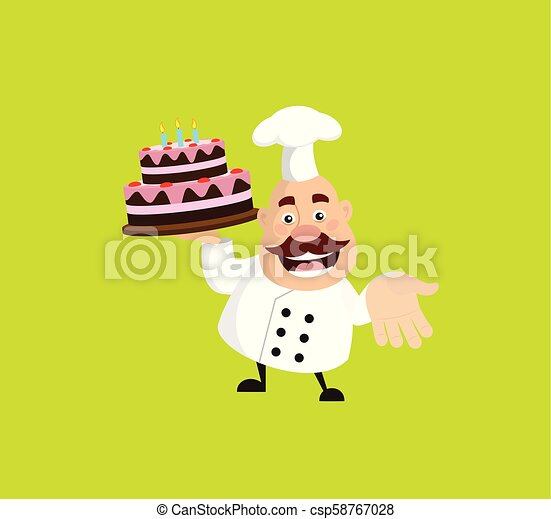 Fat Cartoon Chef with cake Flat Vector Illustration Design - csp58767028
