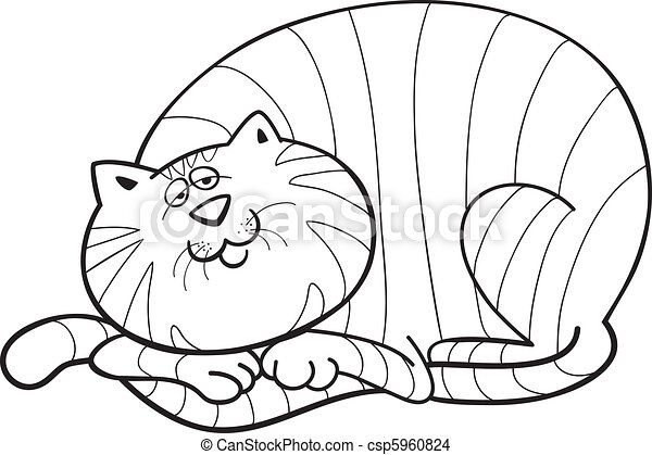 illustration of happy fat cat for coloring book eps vector search rh canstockphoto com