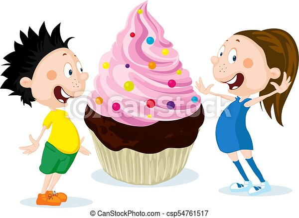 Fat children with big cake cartoon illustration isolated on white background - flat design - csp54761517