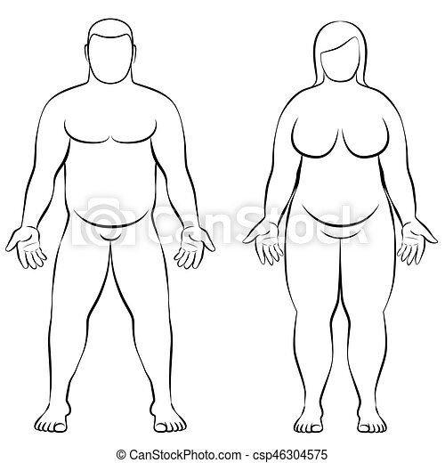 Fat Couple Overweight Man Woman Body Frontal View Illustration