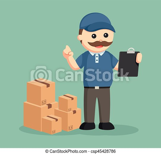 fat delivery man with clipboard and stack of boxes - csp45428786