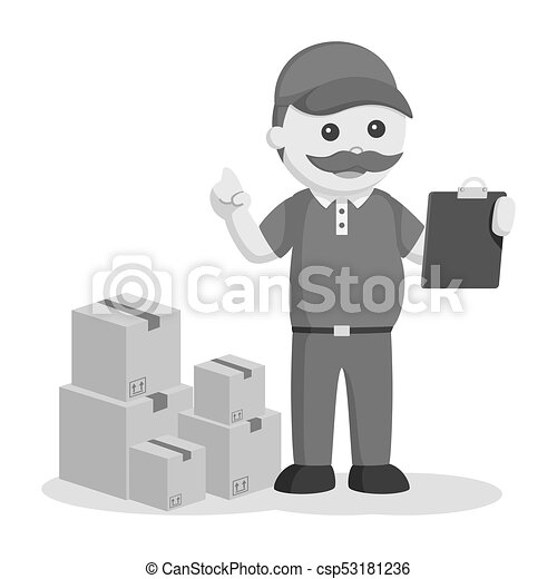 Fat delivery man with clipboard and stack of boxes - csp53181236