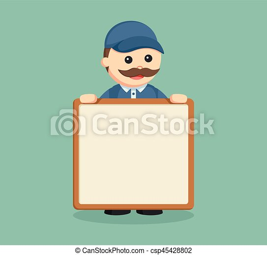 fat delivery man with empty board - csp45428802