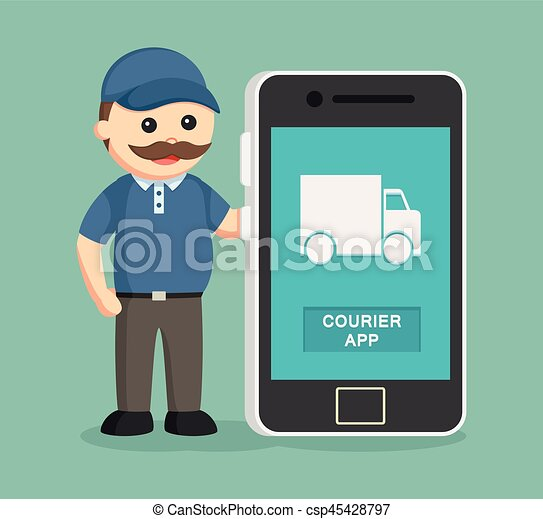 fat delivery man with smartphone - csp45428797