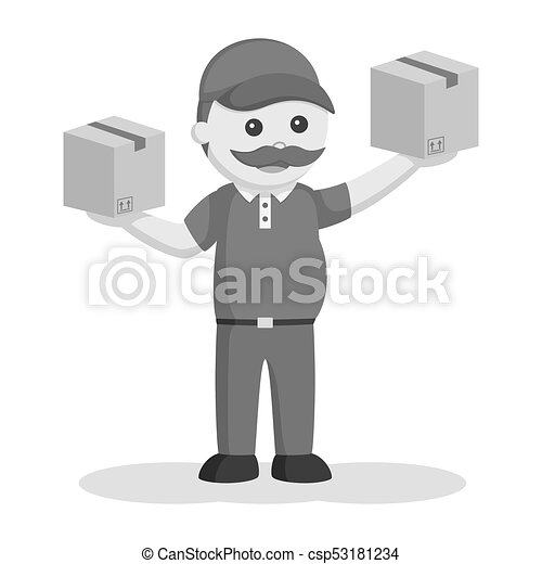 Fat delivery man with two boxes - csp53181234