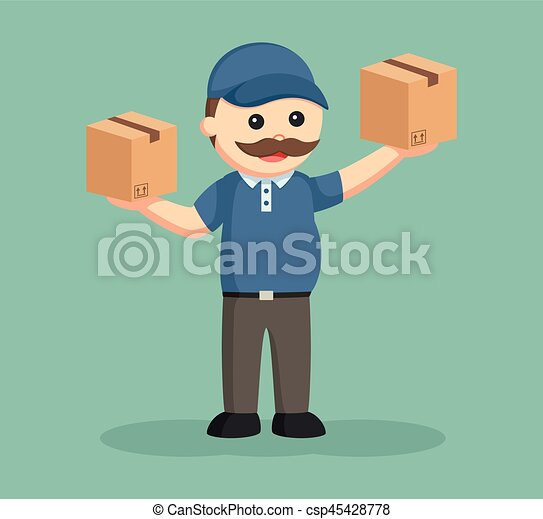 fat delivery man with two boxes - csp45428778