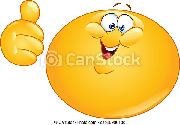 Fat emoticon with thumb up - csp20986188