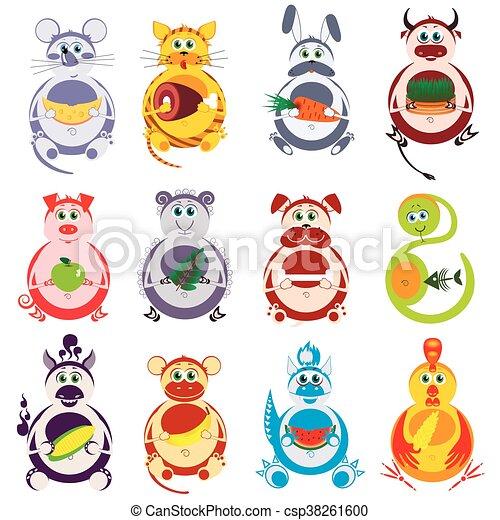Fat funny animals set - csp38261600