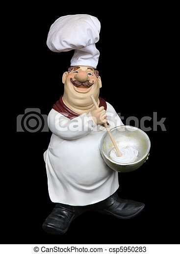Fat Italian Chef Over Black An Overweight Isolated Background Canstock