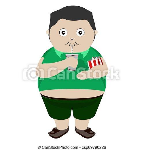 Fat kid drinking a soda - csp69790226