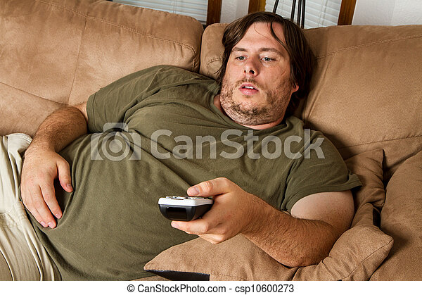 Fat lazy guy on the couch - csp10600273