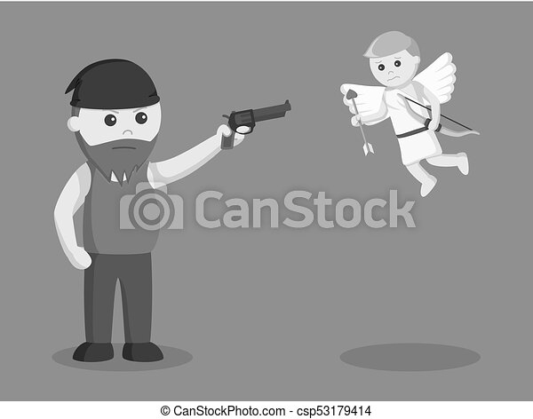 Fat man aiming gun to cupid - csp53179414