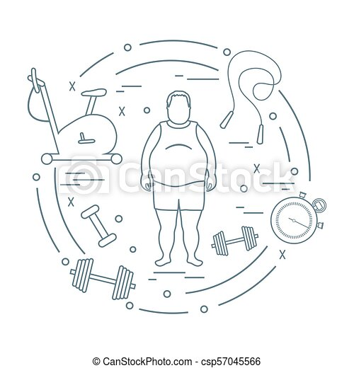 Fat Man And Different Sports Equipment Healthy Lifestyle Exercise
