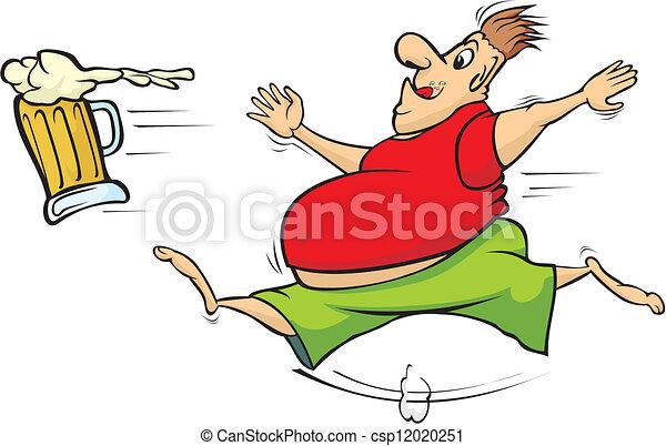 fat man chasing a mug of beer - csp12020251