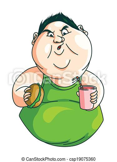 Fat Man eating - csp19075360
